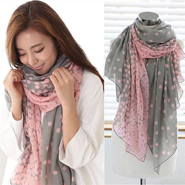 Women's Long Candy Gradual Color Round Dots Scarf