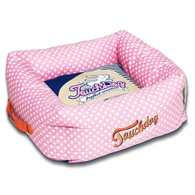 Touchdog Polka-Striped Polo Easy Wash Squared Fashion Dog Bed
