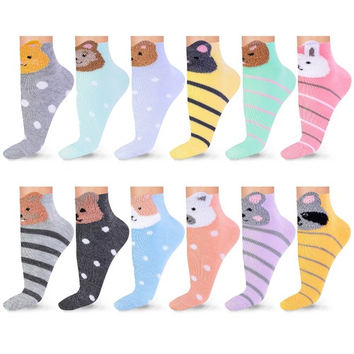 Womens Patterned Multi-Color Ankle Socks (12 or 18 Pairs)
