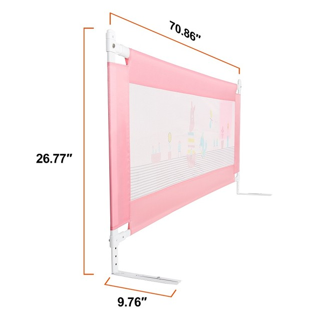56in Bed Rail Swing Down Safety Bed Rails, Pink