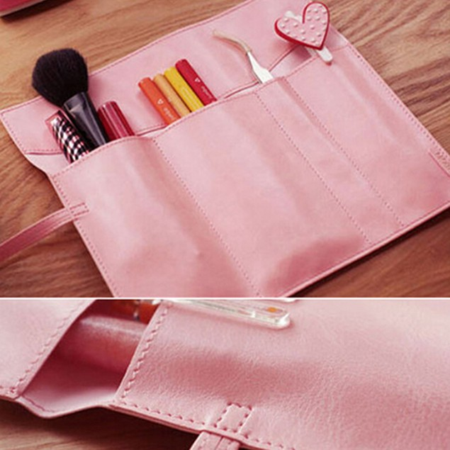 Vintage Roll Faux Leather Cosmetic Brush Pencil Case