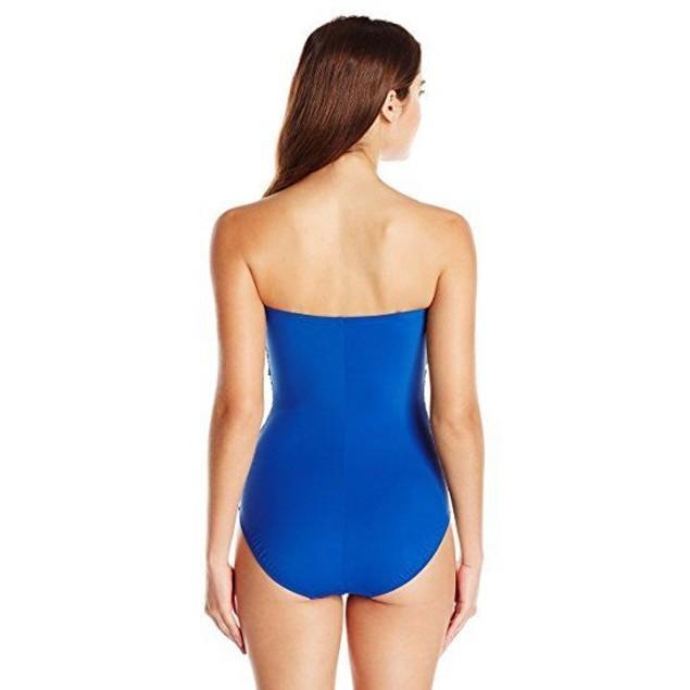 Gottex Women's Lattice Bandeau One Piece Swimsuit, Sapphire, SZ: 6