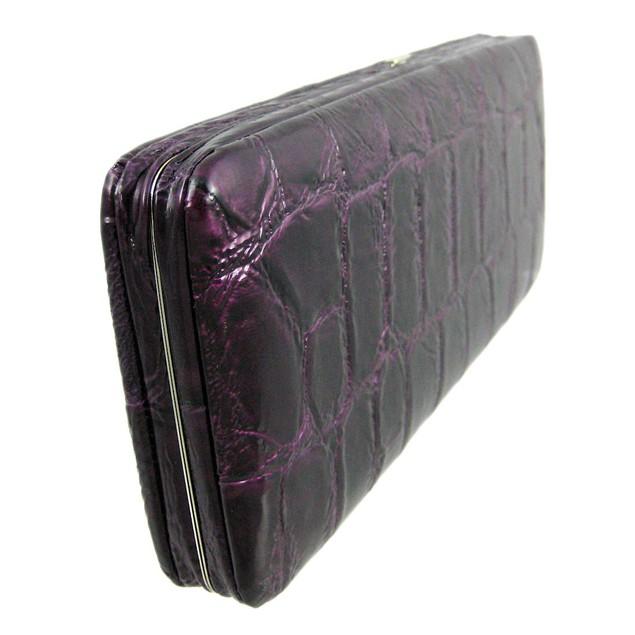 Purple Mock Croc Checkbook Wallet Clutch Womens Wallets
