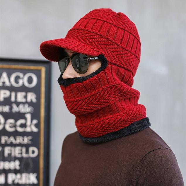 Men's Warm Hat Winter Plus Woolen Cap And Scarf One