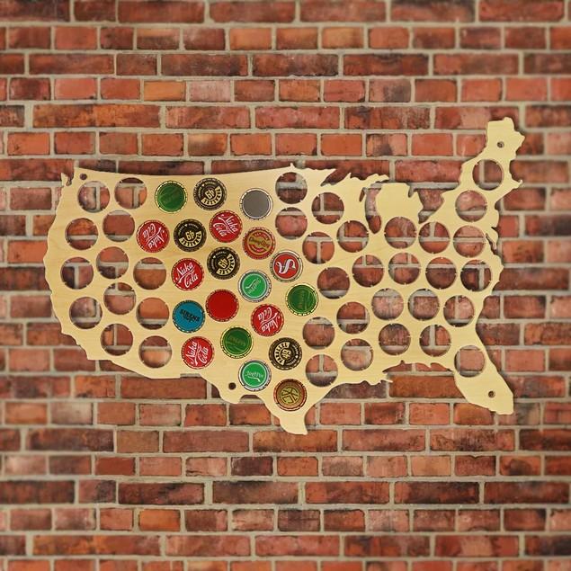 Creative Wooden Beer Cap Map