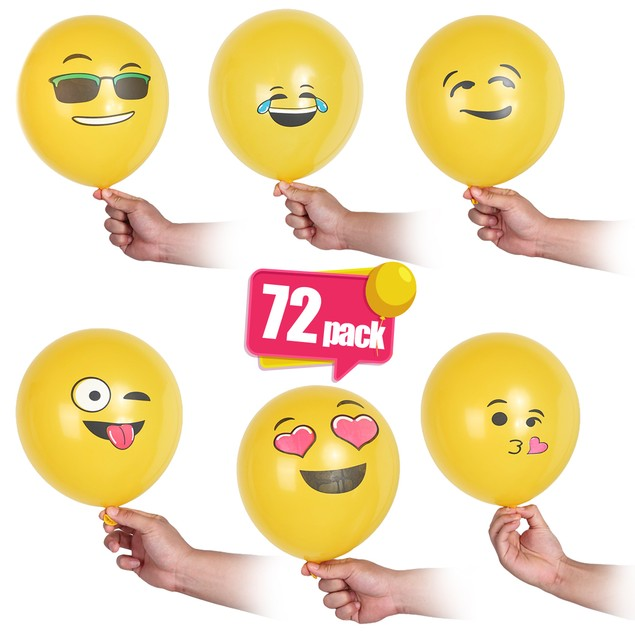 Emoji Party Balloons 12 Inch - 72 Pack