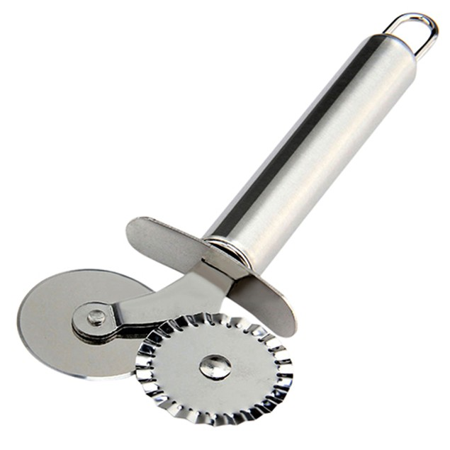 Stainless Steel Round Cutter Fluted Wheel Pizza Knife Pastry Pasta Dough