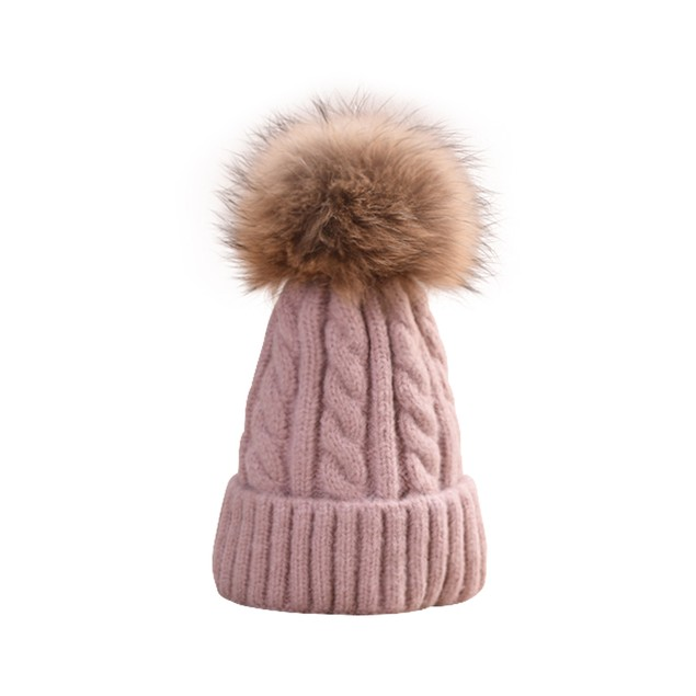 Kids Knitted Winter Pom Beanie - 3 Colors