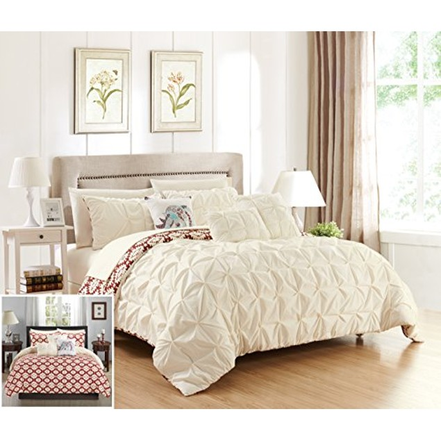Chic Home 10 Piece Heber Pintuck Pleated and Aztec Inspired Comforter Set
