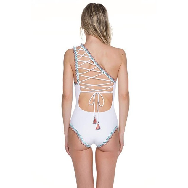 Becca by Rebecca Virtue Women's Asymmetrical One Piece Swimsuit White