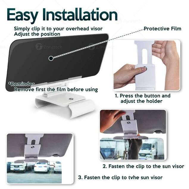 Zone Tech Car Sun Visor Extender Extension Ray Protection Clear View Tint