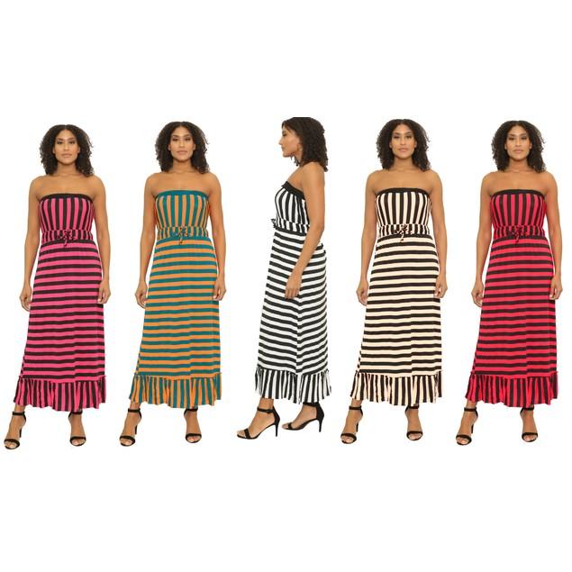 Women's Ankle Length Off-Shoulder Sleeveless Dress