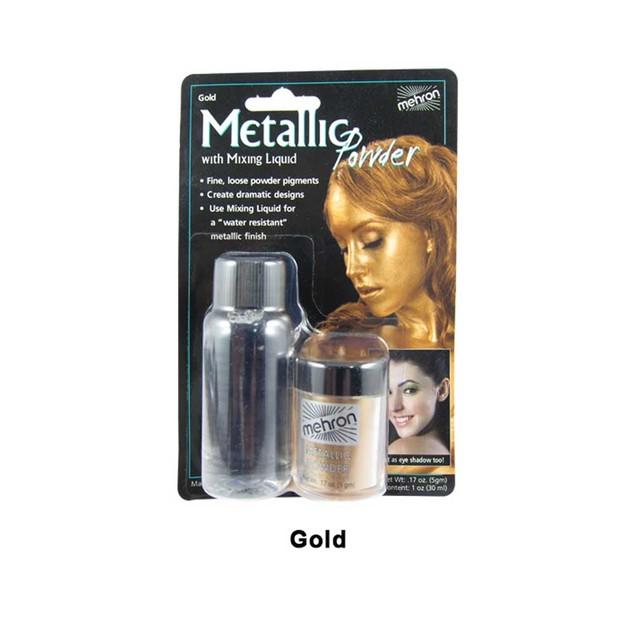 Gold Mehron Metallic Powder With Mixing Liquid Theatrical Stage Makeup FX