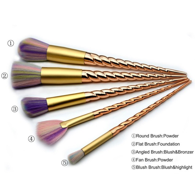 5-Piece Rainbow Unicorn Cosmetic Brush Set with Gold Handles