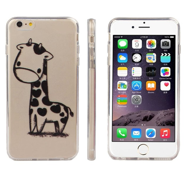 Giraffe Print Transparent Soft TPU Cover Soft Case For iPhone6S 4.7