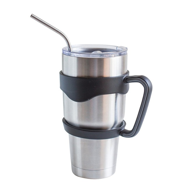 30oz Tumbler Mug Handle & Lid with 4 Steel Straws + Cleaning Brush