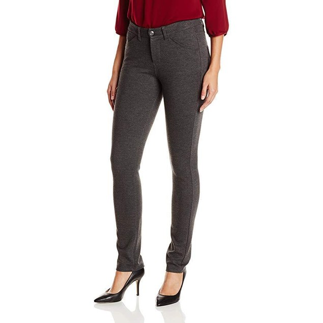 Jag Jeans Women's Rowan Slim Double Knit Ponte, Charcoal Heather, 14
