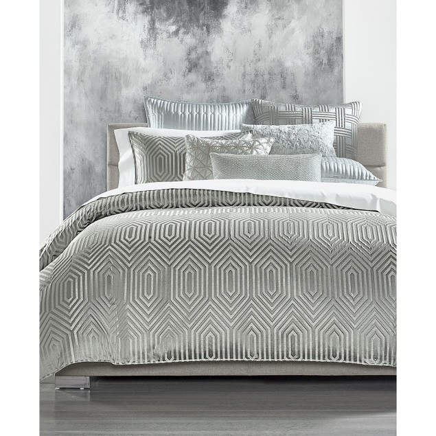 Hotel Collection Lithos Geometric Jacquard Comforter Set, Size: Full/Queen,