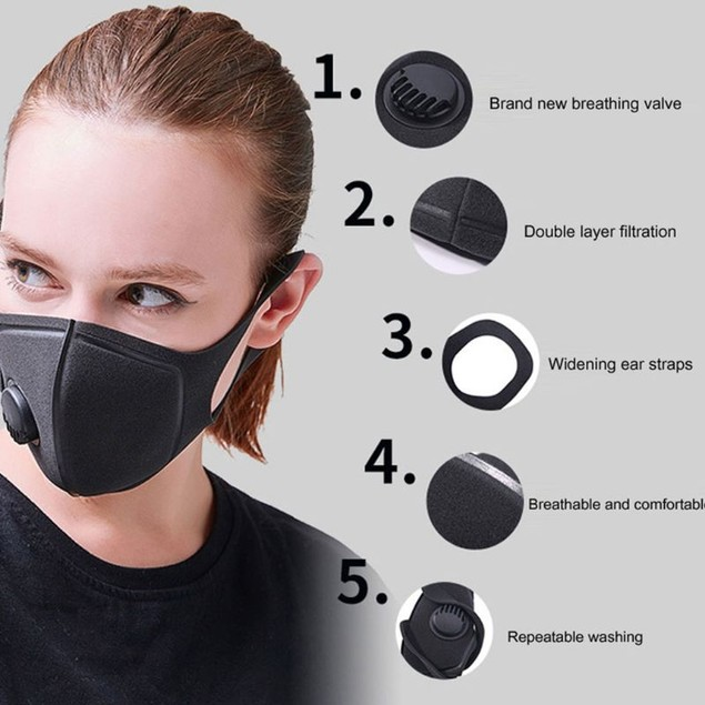 Black Face Mask with Filter