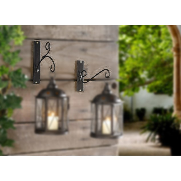 Metal Wall Hangers, Set of Two, for Lanterns,Feeders,Chimes,Ornaments
