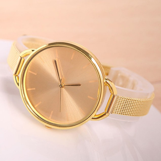 Women's Simple Round Dial Thin Metal Mesh Band Quartz Wrist Watch