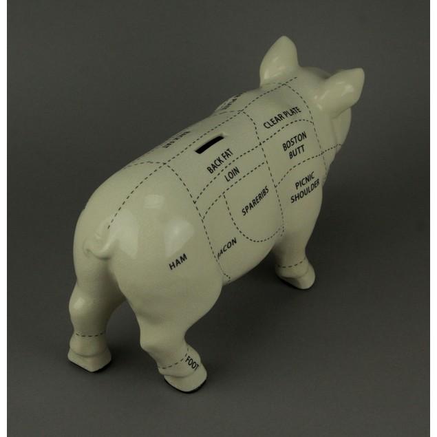 Large White Ceramic Butcher Chart Hog Piggy Bank Toy Banks