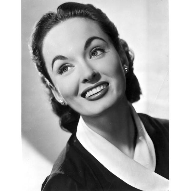 Ann Blyth Looking Up wearing an Earrings in a Portrait Poster