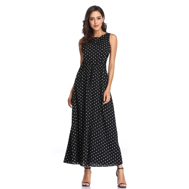 Sleeveless Polka Dot Dress - 3 Available Colors