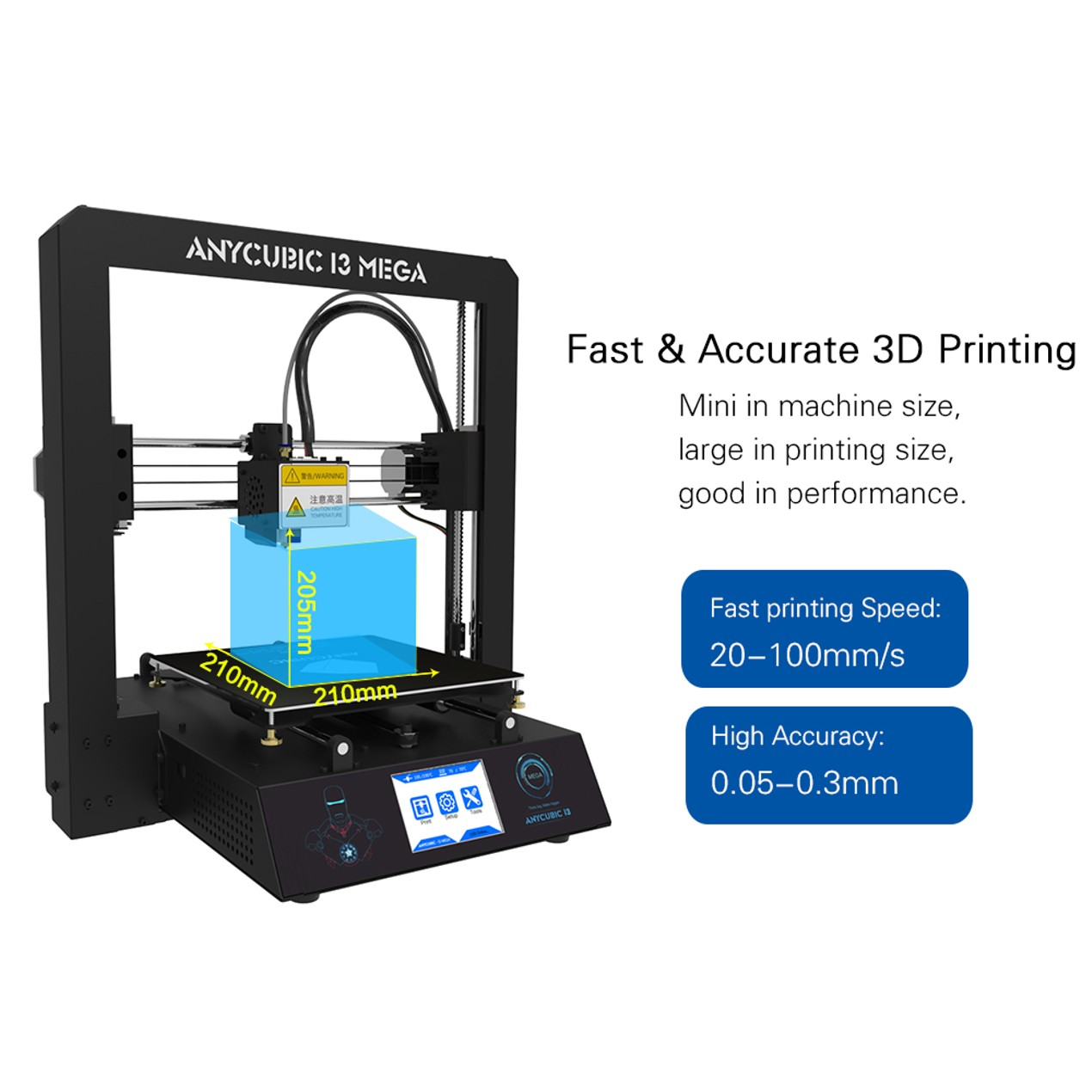 Anycubic MEGA i3 3D Printer Metal Frame Support Auto