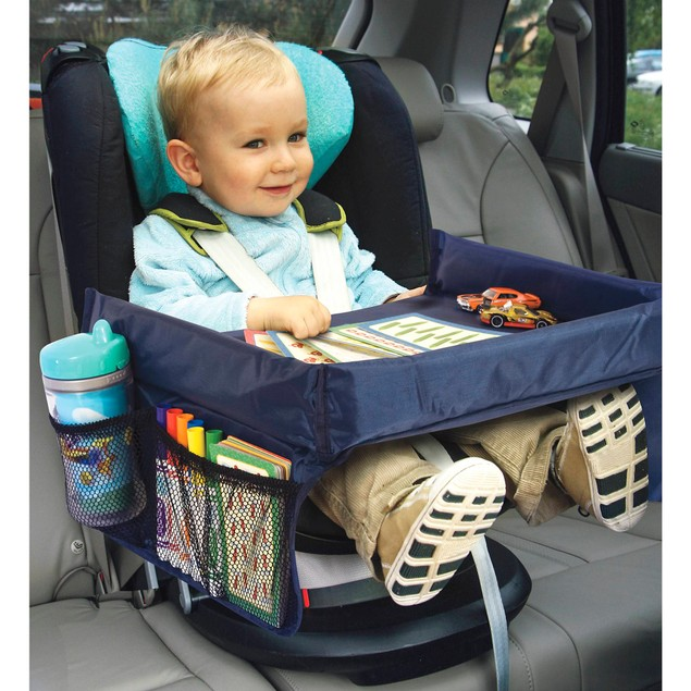 Play n' Snack Travel Tray Portable Foldable Table W/ Mesh Storage Pockets