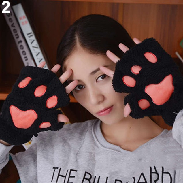 Cute Fluffy Bear/Cat Plush Paw/Claw Soft Half Covered Gloves