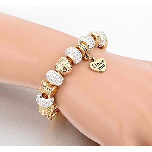 "Gold Austrian Crystal "" I Love You"" Charm Bracelet"