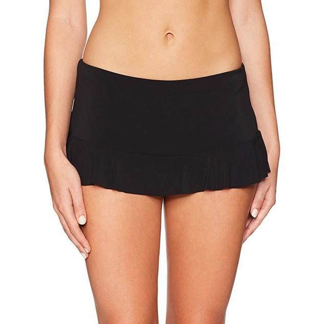 Robin Piccone Women's Lina Skirted Bikini Bottom Swimsuit, Black, S