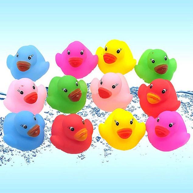 12Pcs Mini Bath Toy Ducks Squeaky Water Play Fun