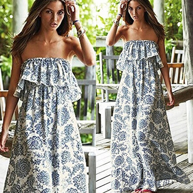 Women Boho Sexy Floral Print Off the Shoulder Dress