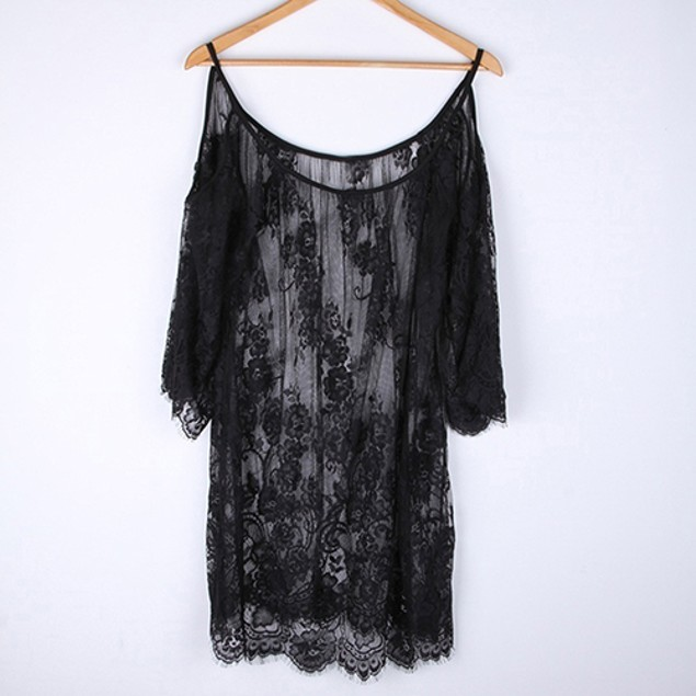 Women Sexy Off Shoulder Floral Lace Hollow Cover