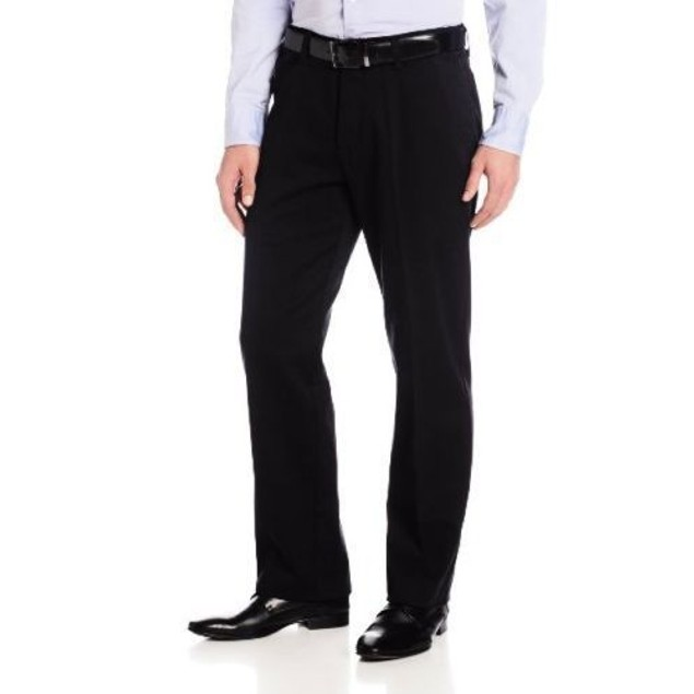 Lee Men's Stain Resistant Relaxed Fit Flat Front Pant, Black SZ 34W x