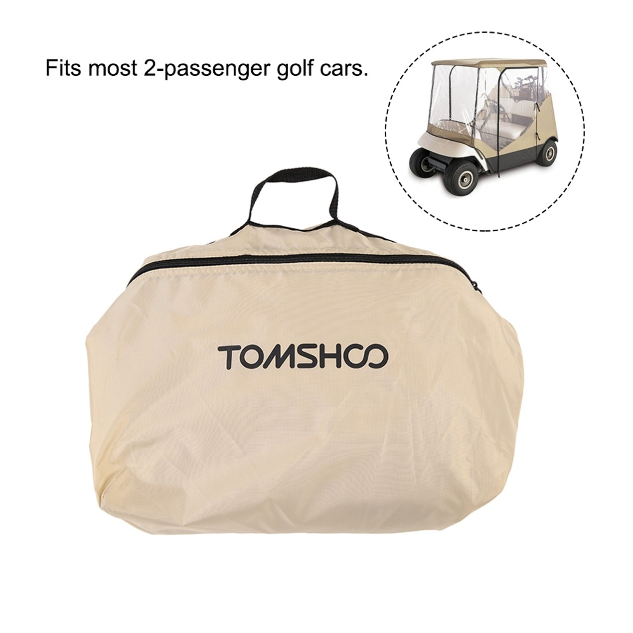 TOMSHOO 4-Sided Golf Cart Cover Enclosure for 2-Person