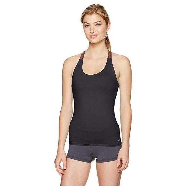Alo Yoga Women's Venture Bra Tank, Black/Copper Metallic/Black, Sz  M