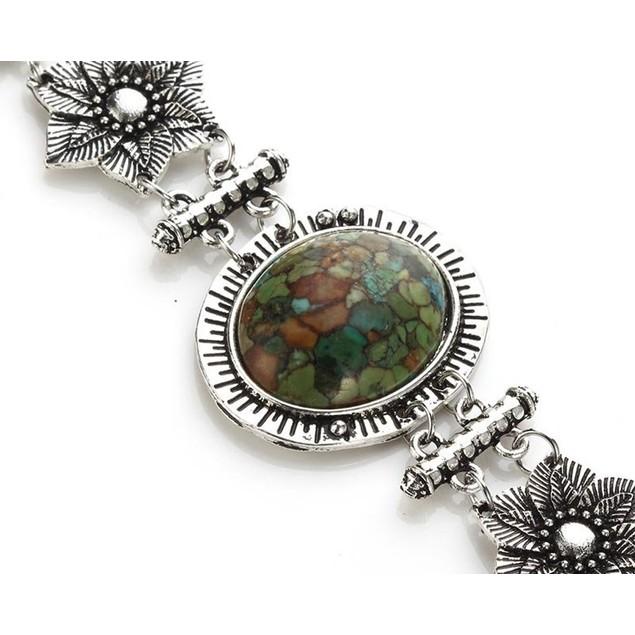 Novadab Green Mosaic Natural Stone Bracelet