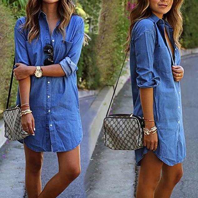 Women's Autumn Pocket Long Sleeve Button Denim Shirt Dress Asian Size