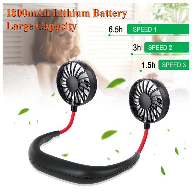 Mini Neck Hanging Fan Rechargeable USB Charge Cooler Blower