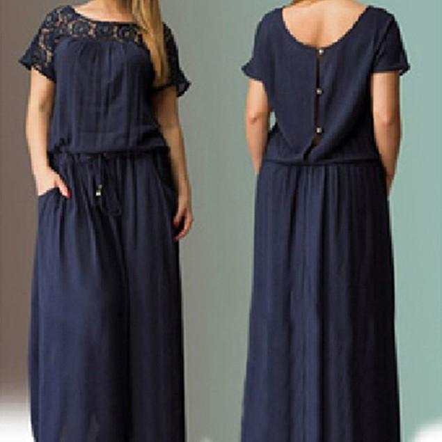 Womens Round Neck Short Sleeve Long Dress Asian Size