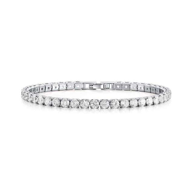 18K Gold Plated Round Cut Crystal Tennis Bracelet - 2 Finishes