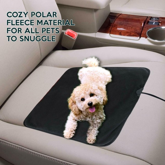 Zone Tech Car Electric Mini Heated  Blanket Pad Fleece Black 45 Min Timer