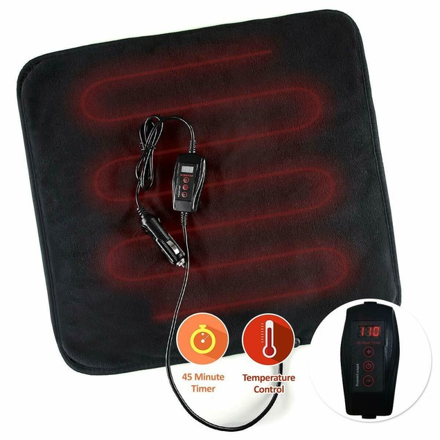 Zone Tech Car Electric Mini Heated  Blanket Pad Fleece Black 45 Min Timer