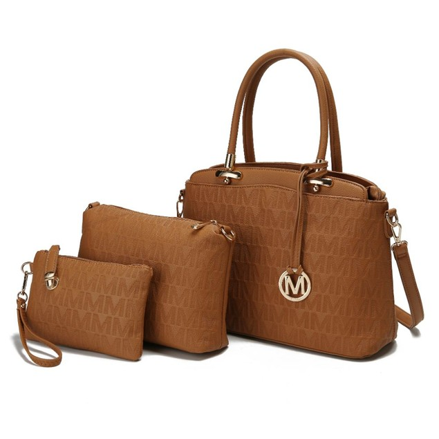 MKF Collection Sammi 3 PC Set Satchel Handbag/Pouch/Wristlet by Mia K.