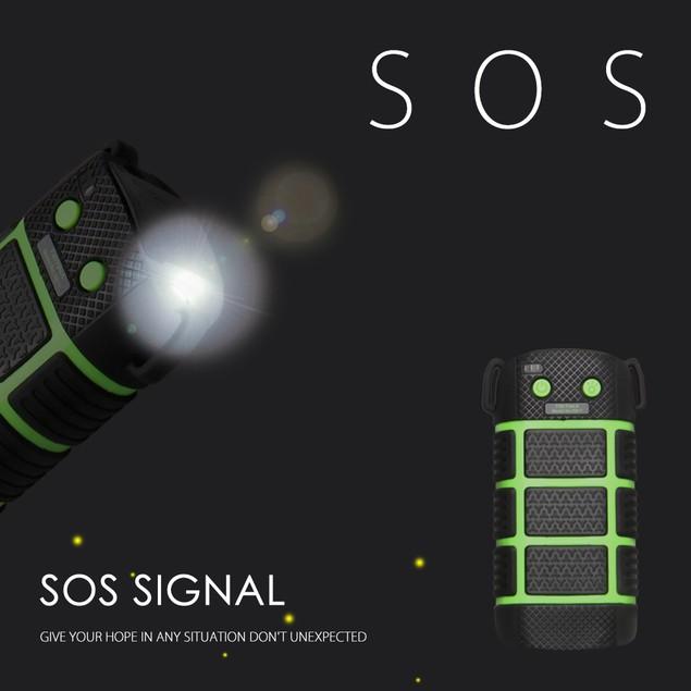 5200mAh Tritina Waterproof Power bank+LED Light+SOS Signal+Red Pointer