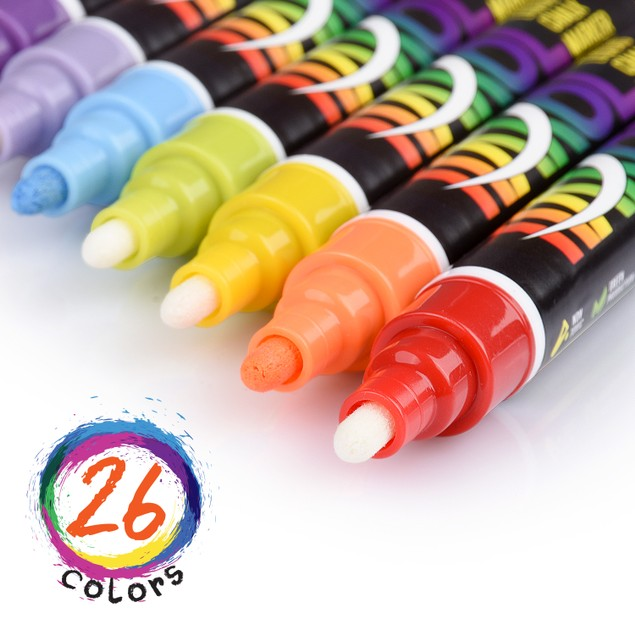 Liquid Chalk Markers [Set Of 26] - Great For Non-Porous Surfaces