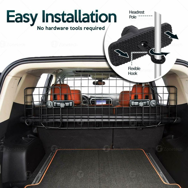 Zone Tech Safety Pet Dog Barrier Wire Adjustable Mounted Headrest Cage